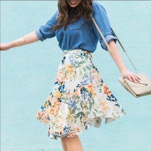 {anthro} ranna gill floral blooms jardin skirt